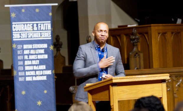 Author, attorney and equal justice advocate Bryan Stevenson spoke before 500 attendees in Christ Church Greenwich last Saturday evening. (Joanne Bouknight photo)