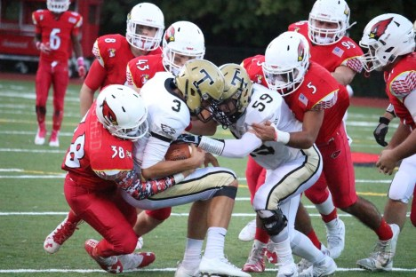 BIg Red came out on top Saturday night with the 42-32 win over Trumbull (Evan Triantafilidis photo)