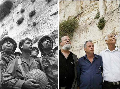 In June 1967 David Rubinger, a press photographer in Israel, had the opportunity to follow the IDF forces that were fighting to liberate the Old City of Jerusalem. Just after liberation, three IDF soldiers posed at the Western Wall for a photograph: Zion Karasanti, Haim Oshri, and Yitzhak Yifat. I have a copy of this well-known photo hanging in my bedroom—a reminder of the miraculous day.  Just as important, I also have a picture of these three men as they reunited at the Wall 45 years later.