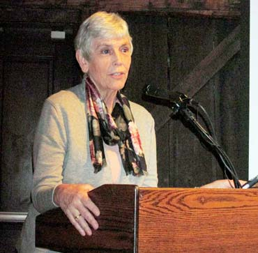 Author-professor Lucinda MacKethan entranced her audience with her two recent lectures on the Ernest Thompson Seton family at the Greenwich Historical Society. Photo by Anne W. Semmes.
