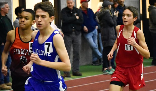 The Greenwich High School boys' indoor track team finished the CIAC class LL meet second overall, posting a team score of 46 points. (Paul Silverfarb photo)
