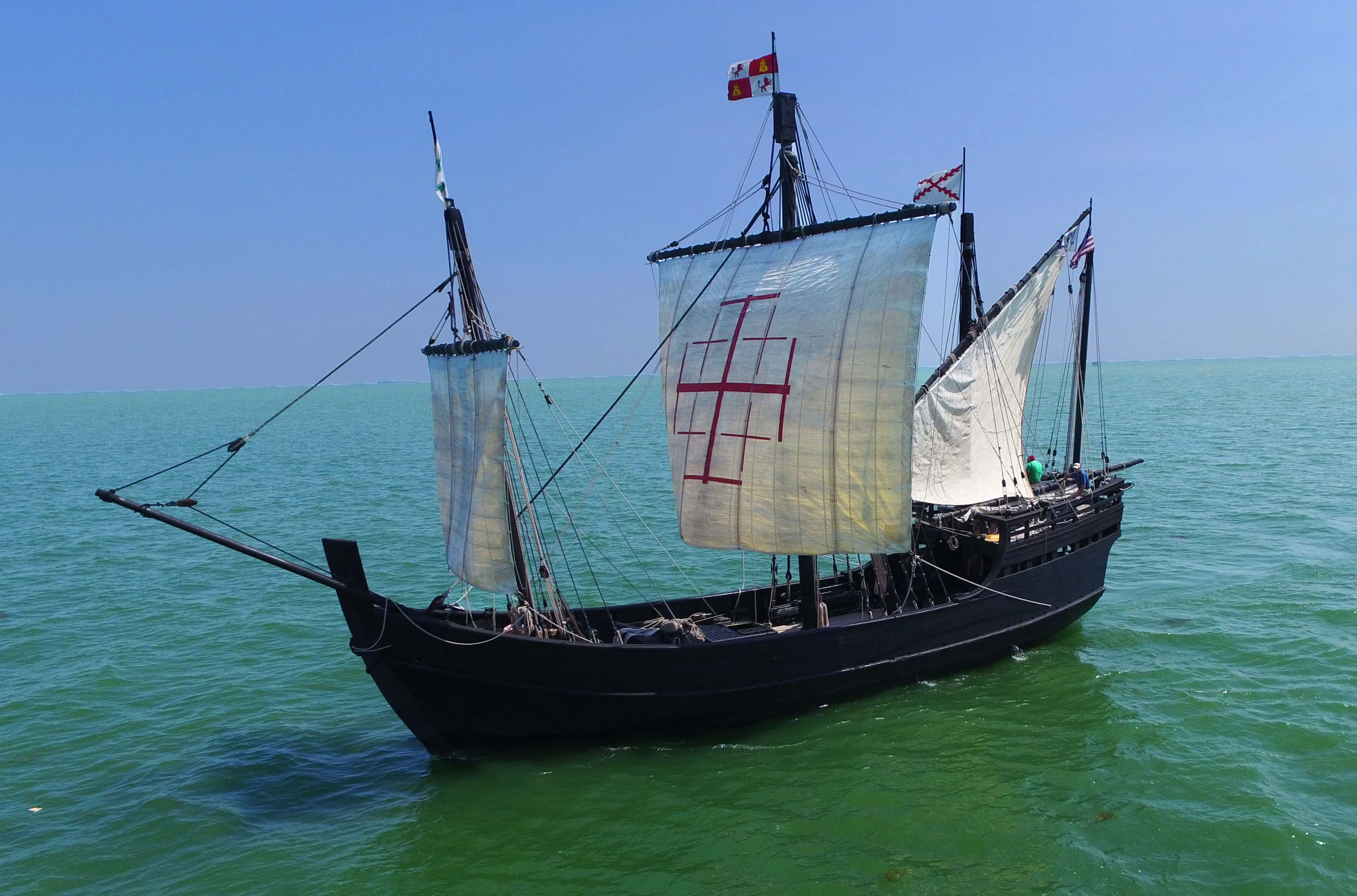 Historic Replicas Of Columbus Sailing Ships Headed Into