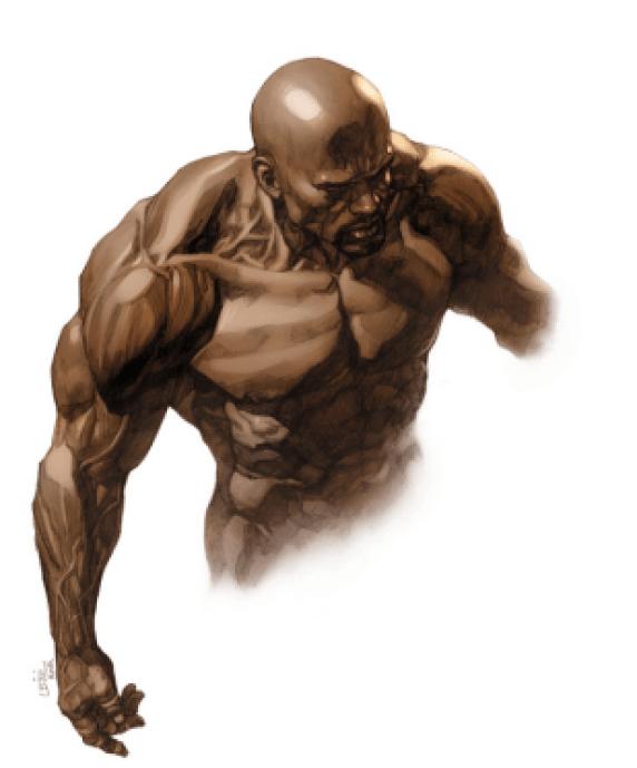 """LUKE CAGE Debut: 1972 Poderes: Superfuerza y durabilidad """"Tengo la tendencia a gravitar hacia atletas cuando ocupo obtener una referencia, en particular peleadores de la MMA, ya que tiene un físico mas funcional"""" --Leinil Francis (artista)"""
