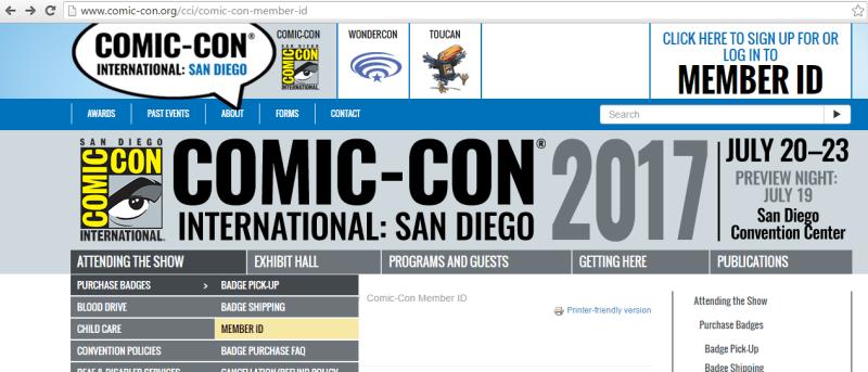 Pagina de Comic Con