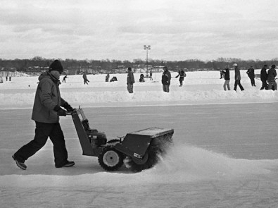 Clearing out the snow and polishing up for the Hockey teams.