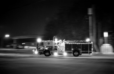 Engine 721 Of Ferrysburg Fire Department with Santa Clause on board.