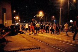 Night scene after dark on Connaught Road.