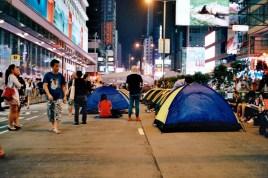 Tents set up on Nathan Road, Mong Kok.