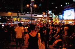 """Light Pole - """"Keep up the good work Hong Kong"""" Bridge - """"Universal Suffrage"""" """"Civil disobedience"""" """"Endure"""" """"Peace and be sensible, freedom never dies"""""""