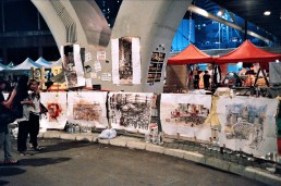 Paintings and Sketches depicting life in the occupied area. Sadly they are now ruined by the rain.