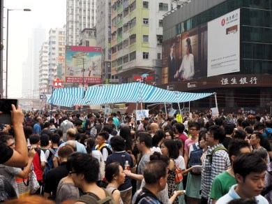 "The ""center stage"" of Occupy Mong Kong, with signs around saying ""Keep Calm"""