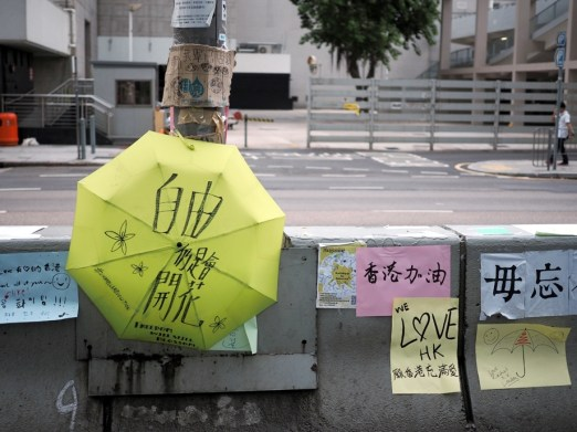 "On the umbrella: ""Freedom will still blossom"", Pink paper: ""Keep up the good work Hong Kong"""
