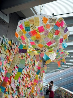 """Some of the notes are as follow: """"Keep up the good work"""" """"Keep going"""" """"Love my real Hong Kong"""" """"Proud to be a Hong Konger"""" """"Fight for democracy , Don't give up"""""""