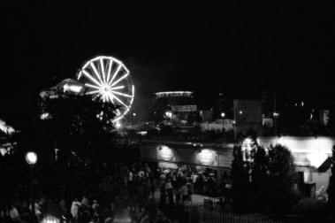A view of the summer fest at night from above