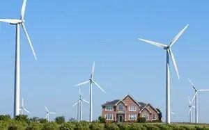 wind turbine over house