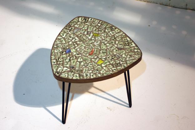 Retro Vintage mozaiek metalen poten tafeltje jaren 60