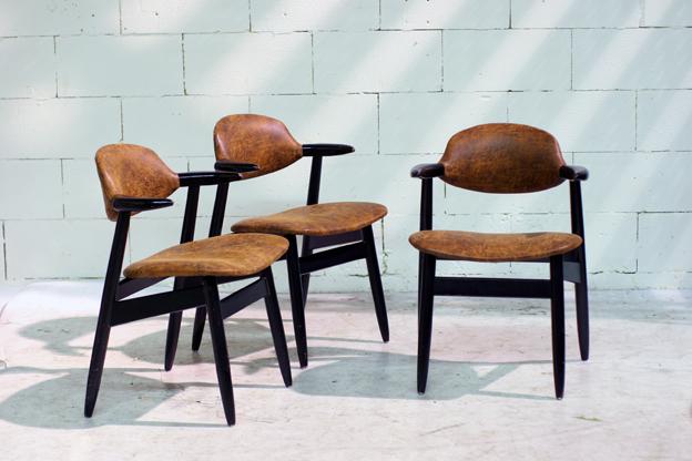 Retro Vintage Koehoorn stoelen Tijsseling Nijkerk