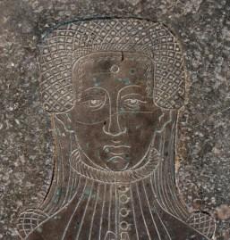 1390 - 1400 Lady Cassey - Brass Rubbing Church of St. Mary Deerhurst, Gloucestershire, England