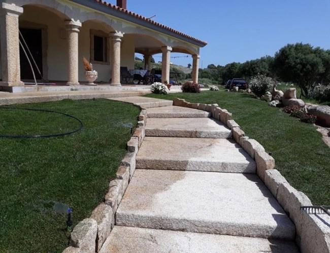 Semi-pointed Solid Granite Staircase In San Giacomo Yellow Granite