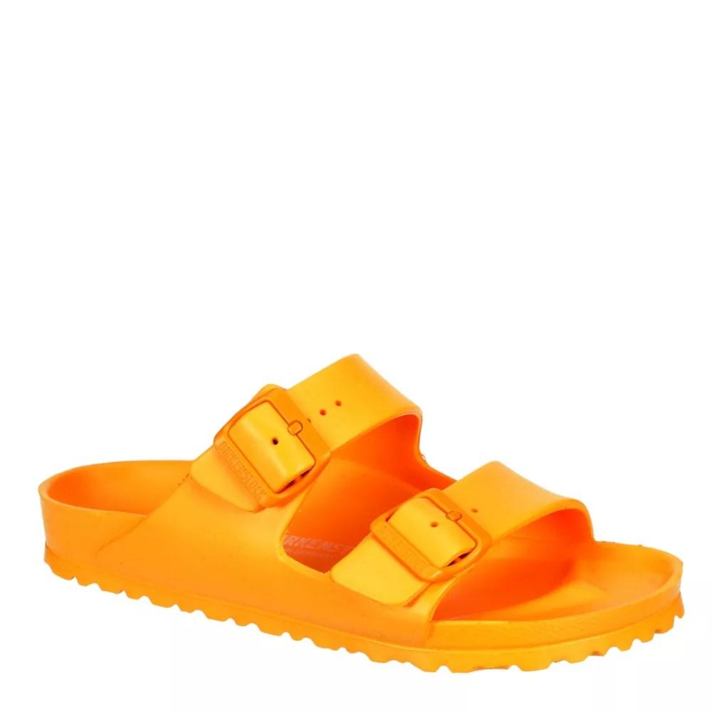 orange birkenstock womens arizona essentials slide sandal