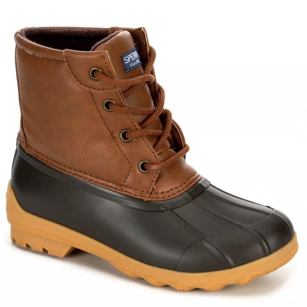 tan sperry boys port boot rain boot