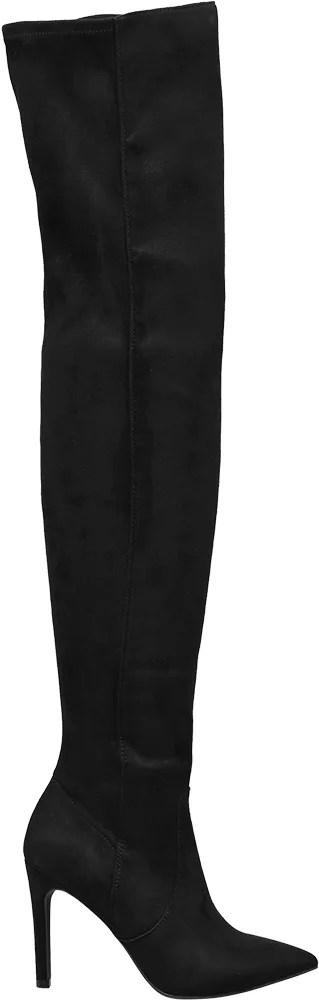 Catwalk - černé kozačky nad kolena Cawtalk