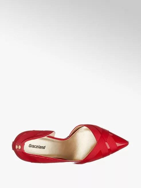1917d3ffa10c Lodičky značky Graceland vás zaujmou svým netradičním vykrojením a výraznou červenou  barvou. Módní špičatý tvar špičky a podpatek vysoký 10 cm vám vykouzlí ...