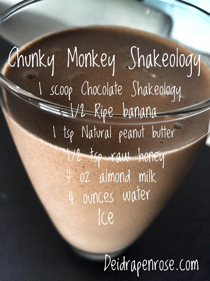 Shakeology recipes, Chocolate Shakeology recipes, Healthy meal replacement shakes, clean eating recipes, Chunky monkey shakeology, healthy dessert recipes, superfood shakes, Deidra Penrose, almond milk, banana recipes, natural peanut butter recipes