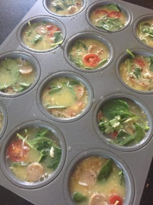Veggie egg cups, healthy egg cups, healthy breakfast recipes, Deidra Penrose Mangus, successful beach body coach, elite beach body coach, healthy kid breakfast ideas, clean breakfast recipe, spinach, egg whites, chicken sausage, healthy pregnancy tips and meals, stay healthy during pregnancy, weight loss journey, healthy new mom, mom weight loss journey