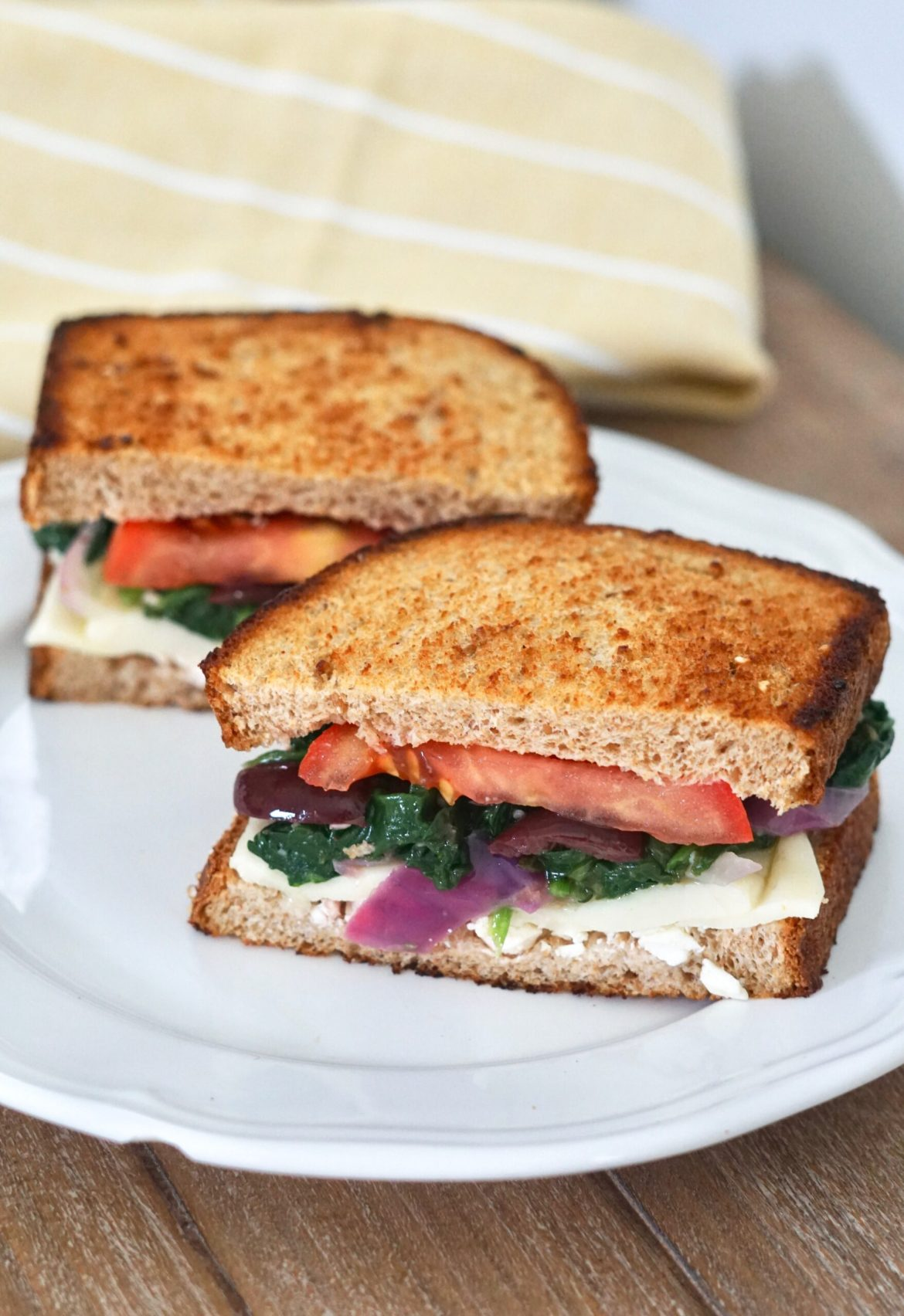 Deidra Mangus, Mediterranean Grilled Cheese, healthy grilled cheese, feta cheese, kalamata olives, roma tomato, whole grain bread, cheese, weight loss journey, healthy military family, healthy lunch recipes, spinach, garlic