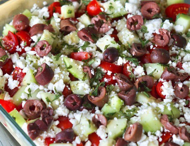 Layered hummus dip, Meditteranean, Greek, Feta cheese, Kalamata olives, cucumbers, tomatoes, parsley, healthy appetizers, hummus, quinoa, Deidra Mangus