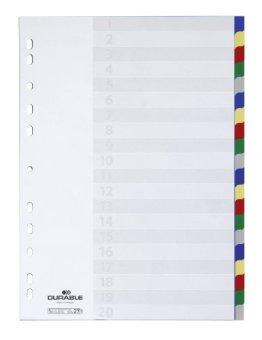 Durable 675827 Blanko-Register aus PP (20-teilig, Universallochung) 1 Stück, farbiger Verlauf -