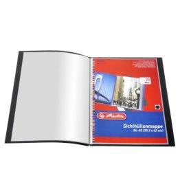 Herlitz 10012672 Sichthüllenmappe PP A3, 20Seiten, schwarz -