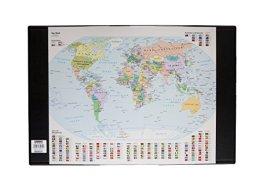 Idena 14010 - Schreibunterlage Weltkarte, schwarz -