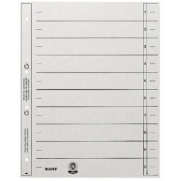 Leitz 1654-00-85 Trennblätter A4, geöst 200g/qm Inh.100, grau -