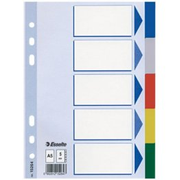 Leitz Plastikregister Blanko, A5, PP, 5 Blatt, farbig -