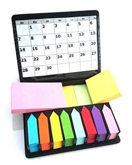 Megabox Haftnotizen Notizzettel Haftmarker selbstklebend 2000 Blatt in 11 Farben, 3 Formaten, im Kunstleder-Klappbox mit Sichthülle -