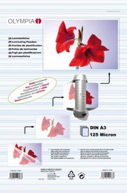 Olympia 9183 Laminierfolien, 125 Mic, DIN A3, 25 Stück -