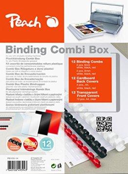 Peach PB100-14 Plastikbindeset für 12 Dokumente, DIN A4, 36-teilig -