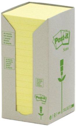 Post-it 654-1T Haftnotiz Recycling Notes Tower, 76 x 76 mm, 80 g, 100 Blatt, 16 Block, gelb -