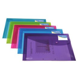 Rapesco 0700 Sammelmappe DIN A4 (5 Stück pro Verpackung,mit Druckknopf) transparenten Farben -