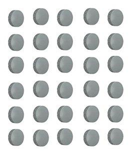 30x Magnete, Grau Ø 24mm, Haftmagnete für Whiteboard, Kühlschrankmagnet, Magnettafel, Magnetwand, Magnet Rund -