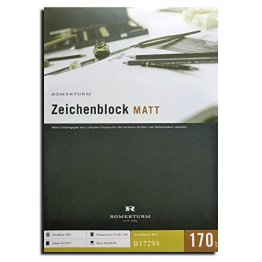 40 Blatt DIN A3 Zeichenblock / Zeichenpapier - matte Oberfläche, hellweiß 170g/qm -