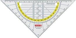 Brunnen 104975201 Geometrie-Dreieck / Geodreieck (für Schule und Büro 16 cm Office to go, abheftbar, bruchsicher, glasklar) -