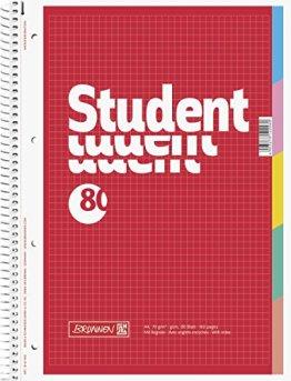 Brunnen 1067902 Notizblock / Collegeblock Student (mit Register, A4, kariert, 70g/m², 80 Blatt) -
