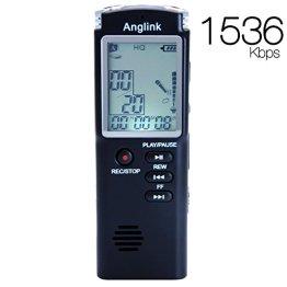 Digitales Diktiergerät,AngLink 1536kbps 8GB Digitalrecorder Diktiergerät Audio Voice Recorder Aufnahmegerät mit LCD Display MP3 Player Spracherkennung Lautsprecher für Büro Schule Interviews -