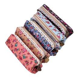 eBoot Leinwand Feder-Mäppchen Briefpapier-Pouch Kosmetiktaschen Blumen-Muster 7 Inch Set von 5 -