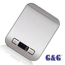 G&G 5kg/1g KI Küchenwaage AAA Batterien Briefwaage Feinwaage - Nur 17mm hoch(Schwarz) -