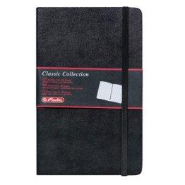 Herlitz 10789428 Geschäftsbuch, Lederoptik, schwarz, kariert, A5, 96 Blatt,Inhaltspapier 80g/m² Notizbuch Classic Collection -
