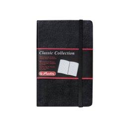 Herlitz 10789436 Geschäftsbuch, Lederoptik, schwarz, kariert, A6, 96 Blatt, Inhaltspapier 80g/m² Notizbuch Classic Collection -